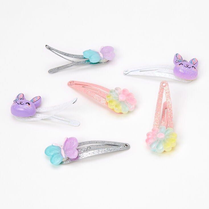 Claire's Club Glitter Bunny Snap Hair Clips - 6 Pack,