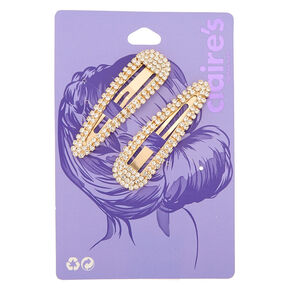 Gold Rhinestone Snap Hair Clips - 2 Pack,
