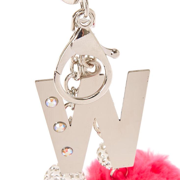 """Pink & Black Pom Pom Initial """"W"""" Keychain,"""