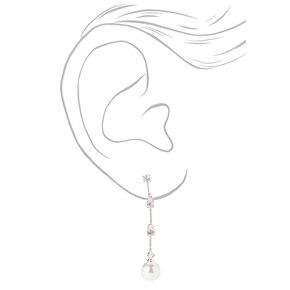 """Silver 1.5"""" Crystal Pearl Linear Drop Earrings,"""