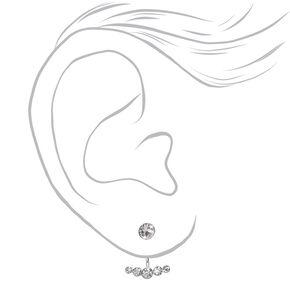 Sterling Silver Crystal Smile Ear Jacket Earrings,