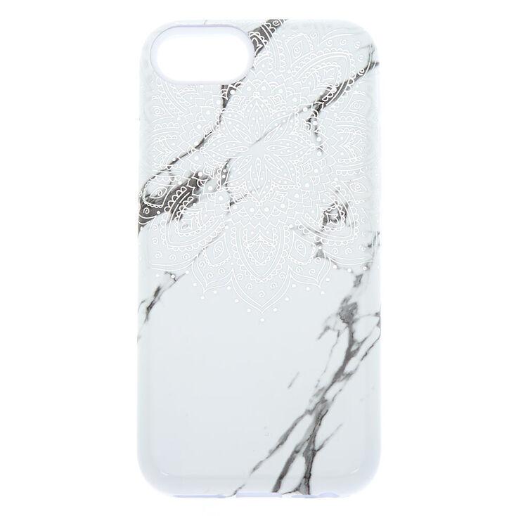 Coque de protection pour portable effet marbré mandala blanc - Compatible avec iPhone 6/7/8/SE,