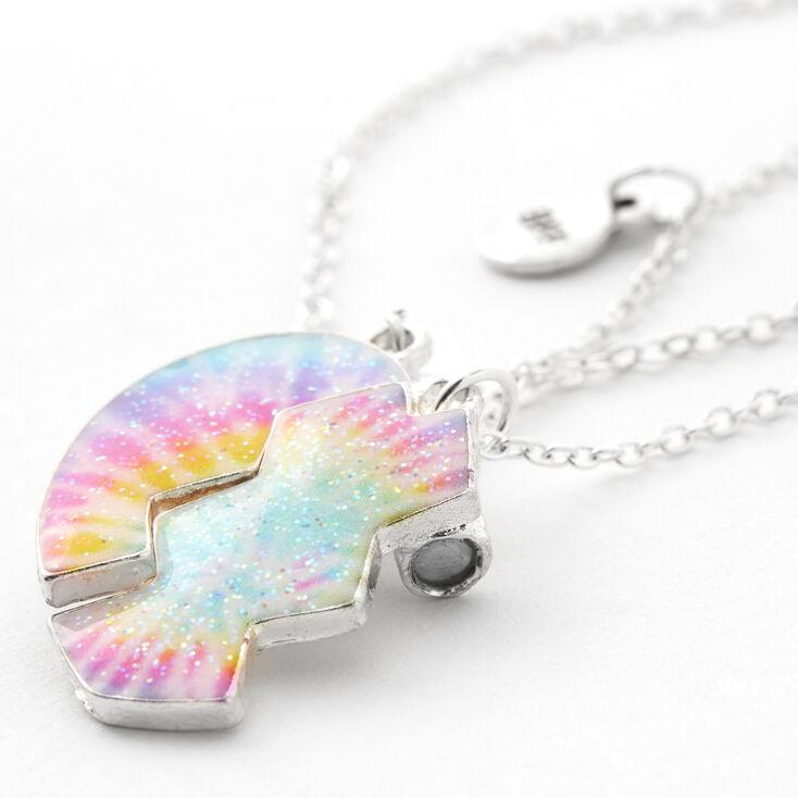 Best Friends Tie Dye Split Heart Pendant Necklaces - 3 Pack,