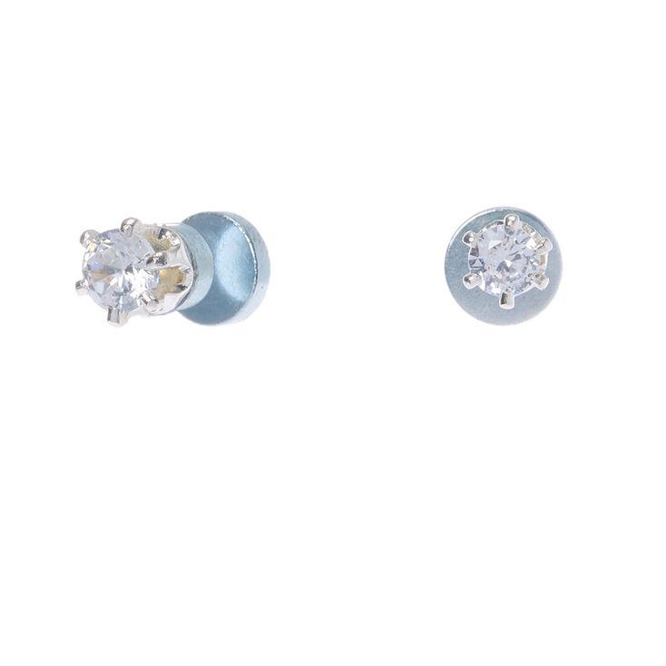 Clous d'oreilles ronds aimantés 3mm en zircon cubique d'imitation couleur argentée,