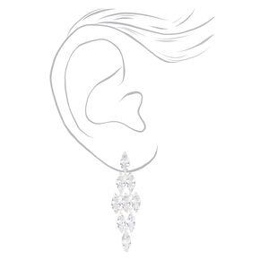 """Silver 2"""" Cubic Zirconia Chandelier Drop Earrings,"""