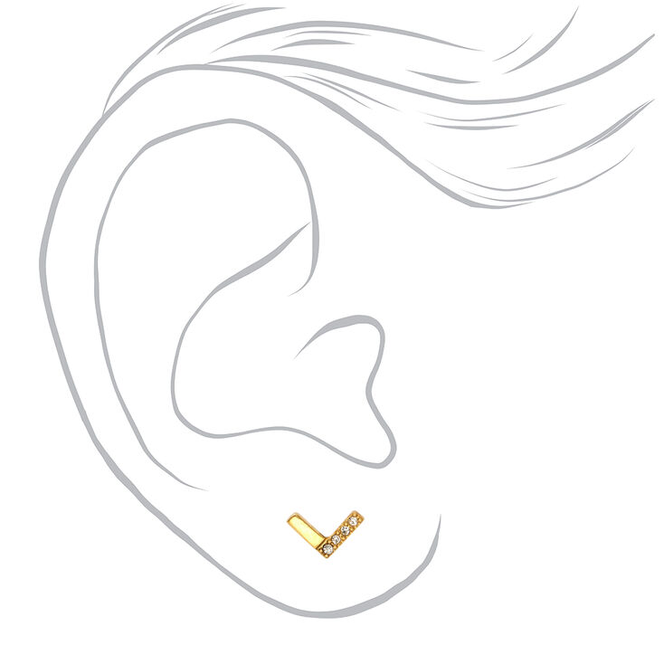 Gold Titanium Crystal Chevron Stud Earrings,