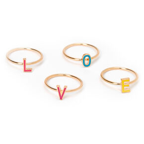 Gold Rainbow Love Rings - 4 Pack,