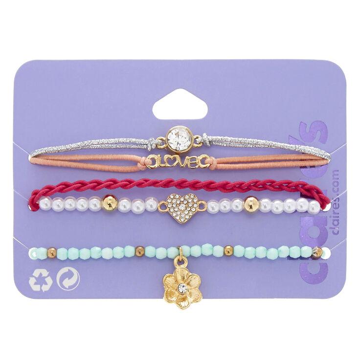 Lot de 5 bracelets élastiques pastel assortis,