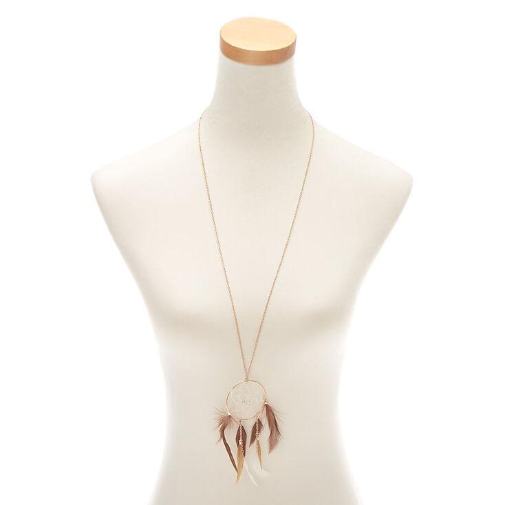 Gold Dreamcatcher Long Pendant Necklace - Brown,