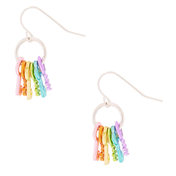 """1"""" Rainbow Keys Drop Earrings,"""