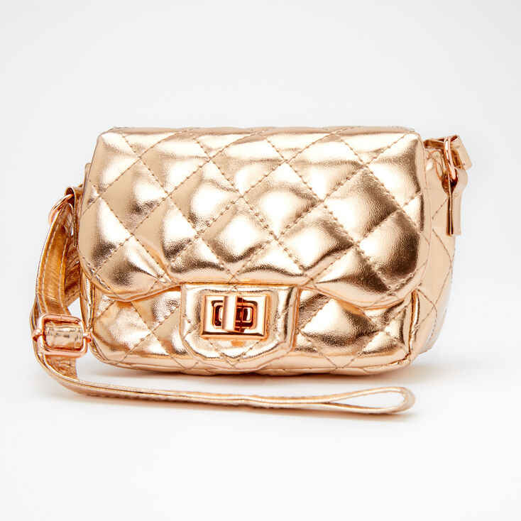 Claire's Club Metallic Quilted Crossbody Bag - Rose Gold,