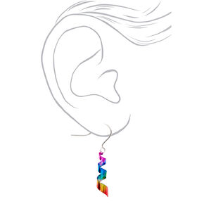 "Silver 1"" Rainbow Ribbon Twist Drop Earrings,"