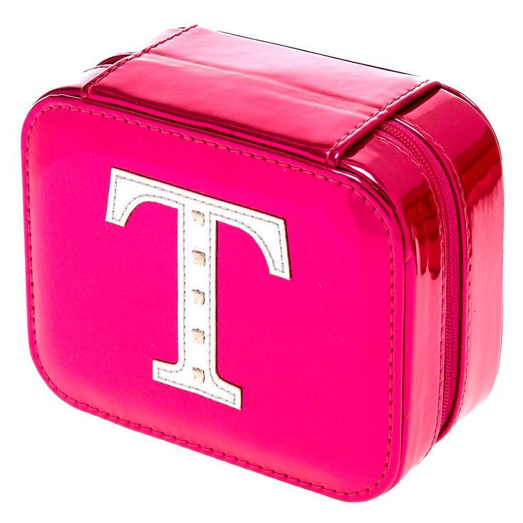 "Metallic Pink ""T"" Initial Jewelry Case,"