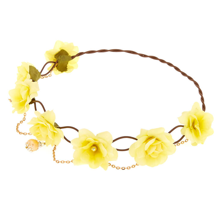 Yellow Flower Crown Gold Chain Headwrap  4c34ad73296