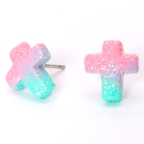 Pastel Ombre Glitter Cross Stud Earrings,