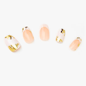 White Marble Gold Foil Coffin Faux Nails - 24 Pack,