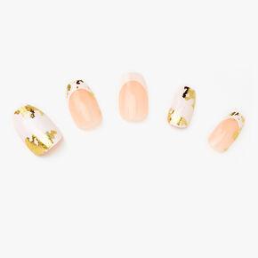 Faux ongles ballerine métallisés couleur dorée effet marbré blancs - Lot de 24,