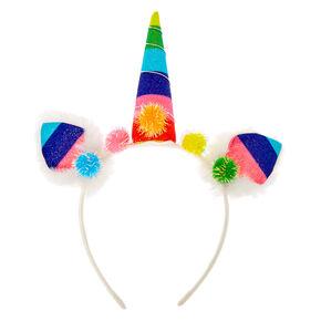 Rainbow Unicorn Pom Pom Headband - White,