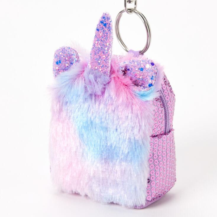 Furry Ombre Unicorn Mini Backpack Keychain,