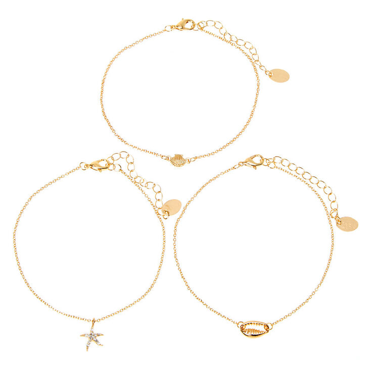 Gold Under the Sea Chain Anklets - 3 Pack,