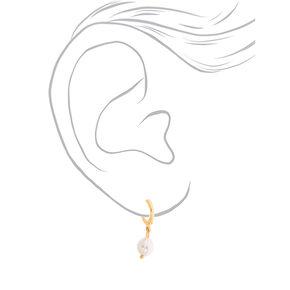 Gold 10MM Pearl Hoop Earrings,
