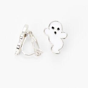 Clous d'oreilles à clip fantôme d'Halloween couleur argentée,