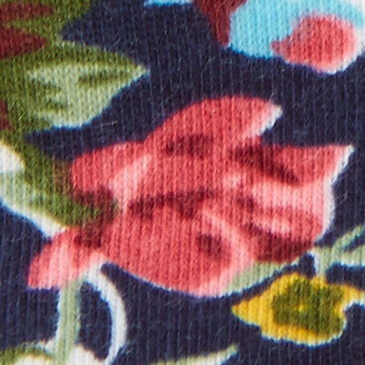 Floral Print Navy Turban Headwrap,