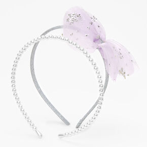 Claire's Club Pearl & Tulle Flower Headbands - 2 Pack,