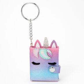Porte-clés mini journal intime licorne à paillettes - Arc-en-ciel,