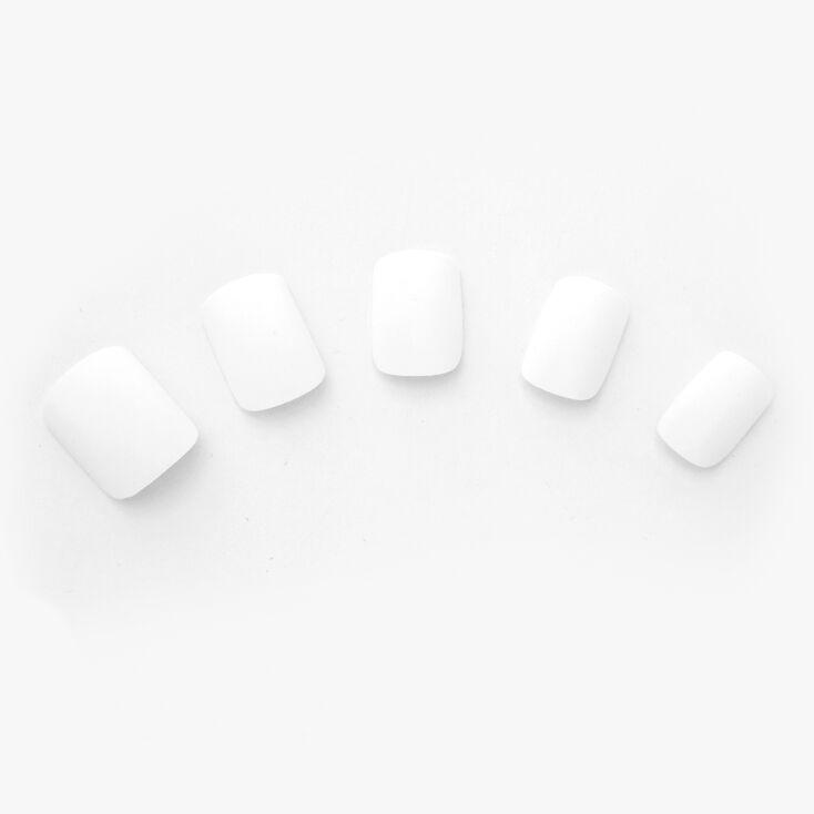 Faux ongles carrés pré-collés mats - Blanc, lot de 24,