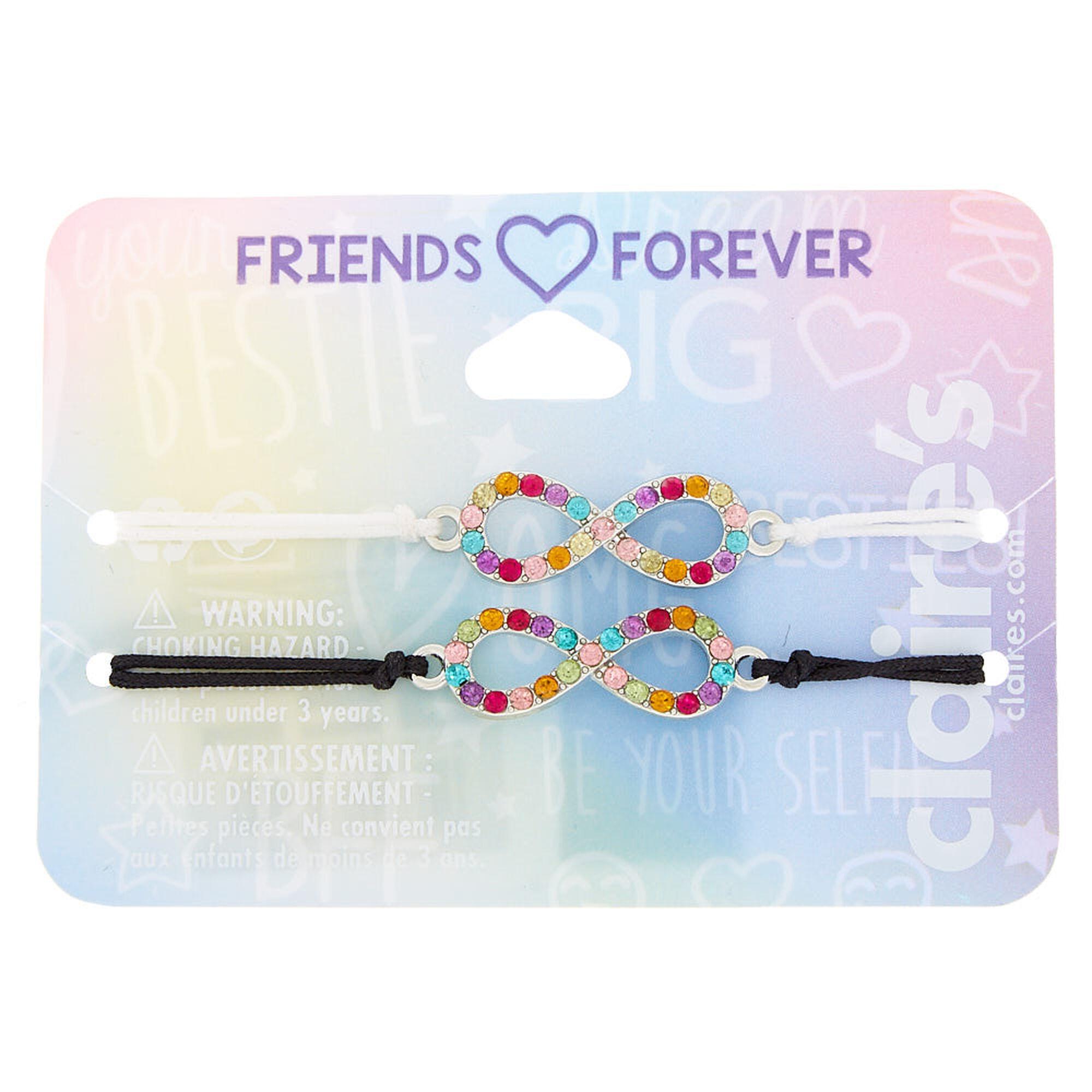 2e30cab43b018 Rainbow Infinity Adjustable Friendship Bracelets - 2 Pack