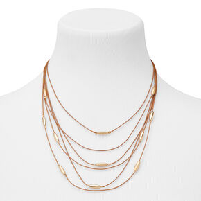 Gold Bead Western Multi Strand Necklace - Brown,