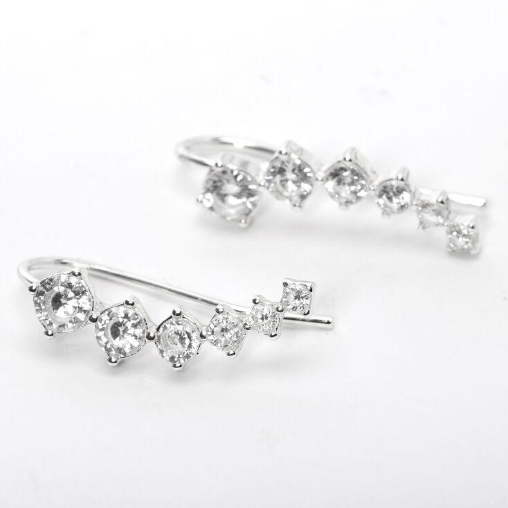 "Silver 1"" Cubic Zirconia Embellished Ear Crawler Earrings,"