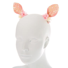 Floral Glitter Bunny Ear Hair Clips - Pink, 2 Pack,