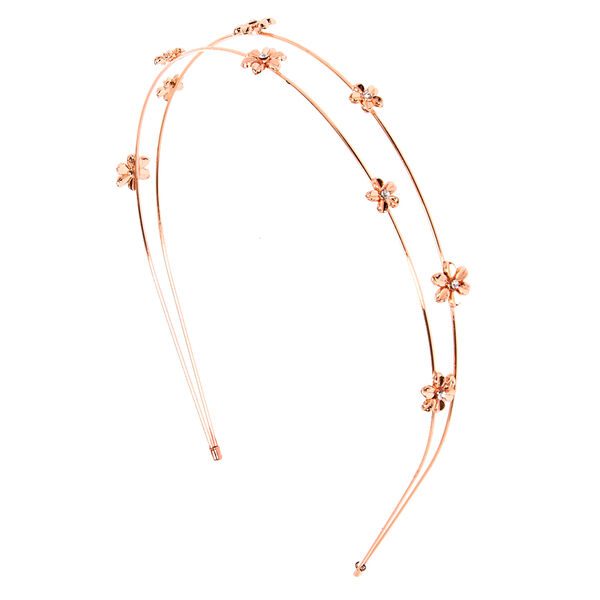 Claire's - rose two row flower headband - 1