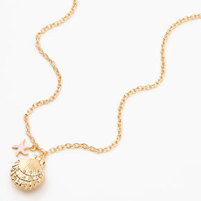 Gold Scallop Shell Locket Pendant Necklace,