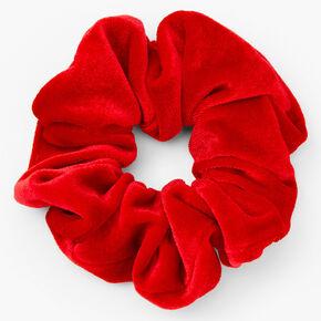 Chouchou en imitation velours de taille moyenne - Rouge,