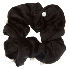 Medium Velvet Pearl Hair Scrunchie - Black,