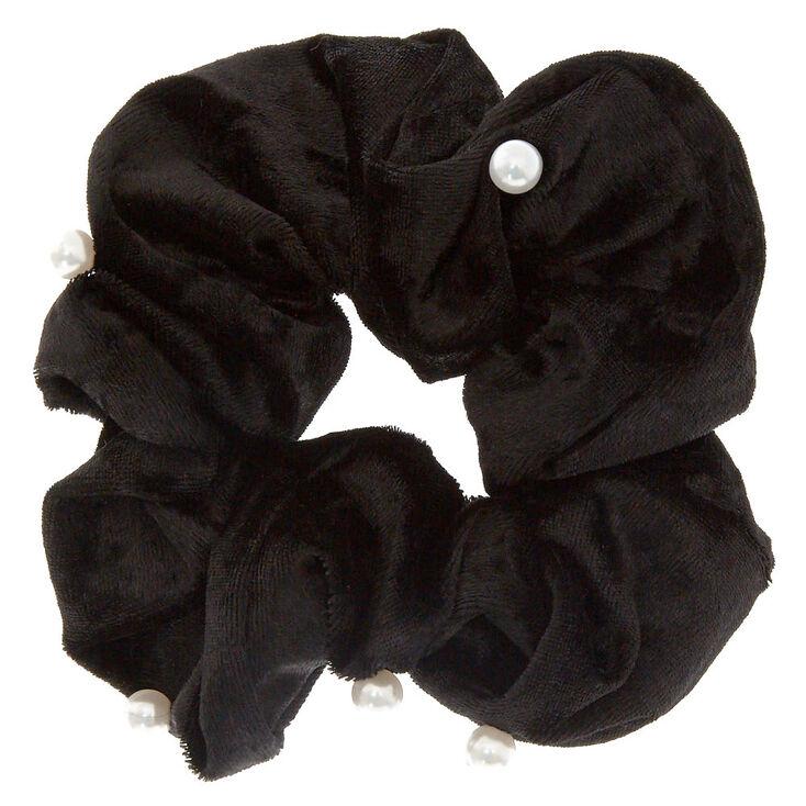 Medium Velvet Pearl Hair Scrunchie - Black,