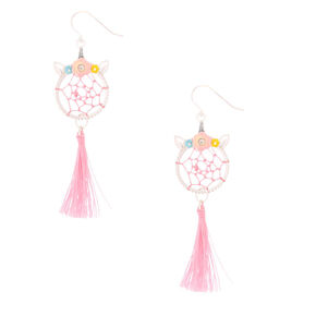 "Silver 2"" Unicorn Dreamcatcher Drop Earrings - Pink,"