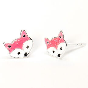 Sterling Silver Fox Stud Earrings - Pink,