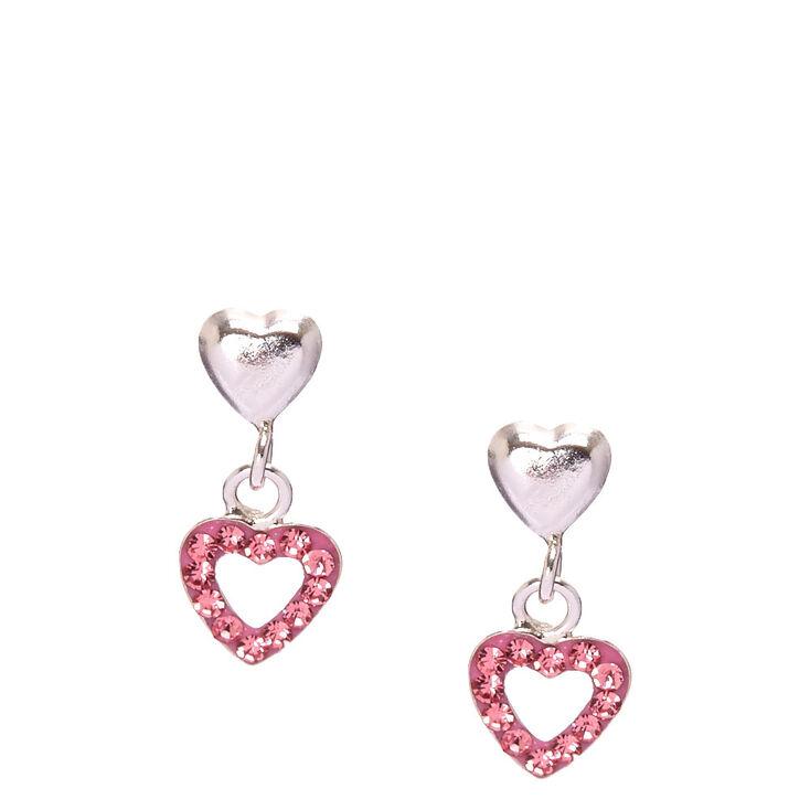Sterling Silver Pink Double Heart Earrings,