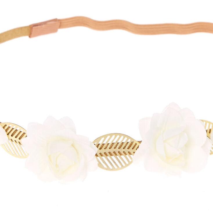 Bandeau à fleurs blanches et feuilles couleur doré,