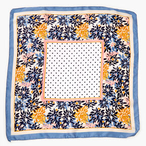 Bandeau bandana soyeux à imprimé floral et à pois - Bleu,