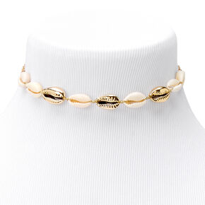 Gold Cowrie Shell Choker Necklace,