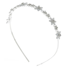 Silver Frosted Flower Headband,