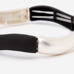 Wavy Bars Stretch Bangle Bracelet - Black/Silver,