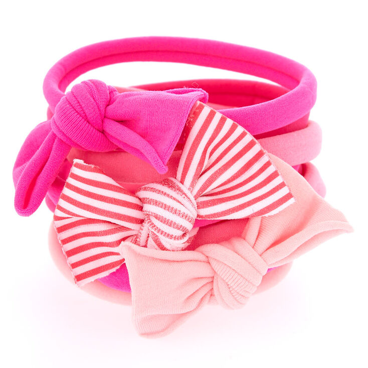 Girly Bow Hair Bobbles - Pink, 8 Pack,