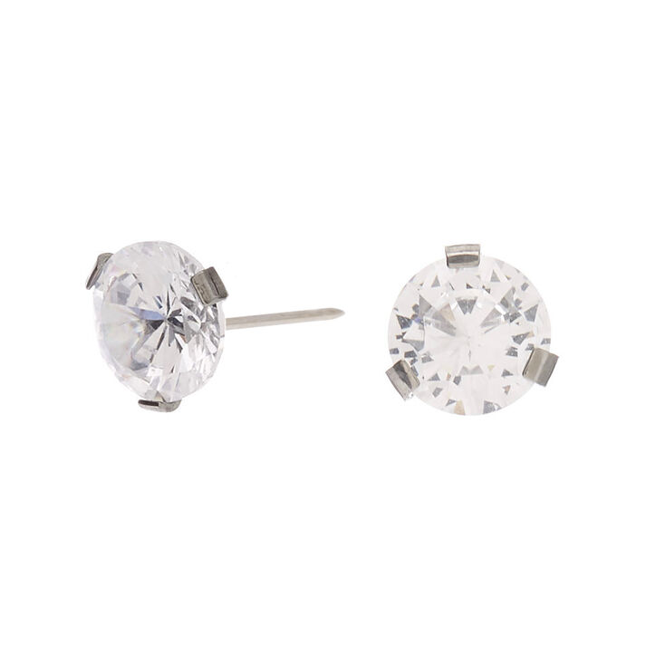 Silver Titanium Cubic Zirconia Round Stud Earrings - 7MM,