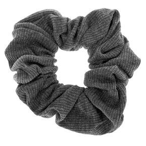 Medium Ribbed Hair Scrunchie - Charcoal,